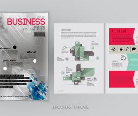 Business magazine cover with page vector template 11