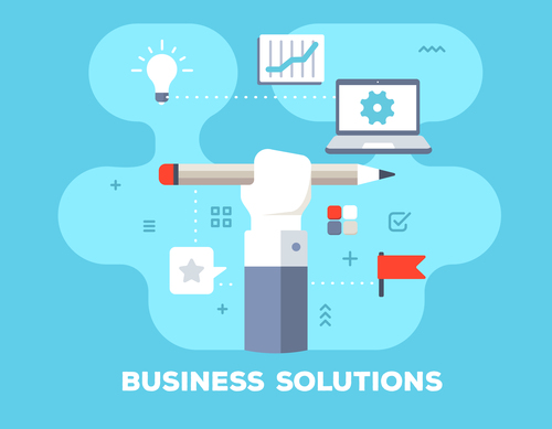 Business solutions flat template vector