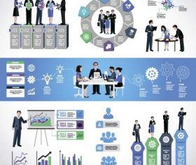 Businessman with business infographic template vector