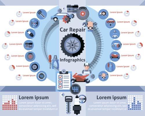 Car repair infographic template vector