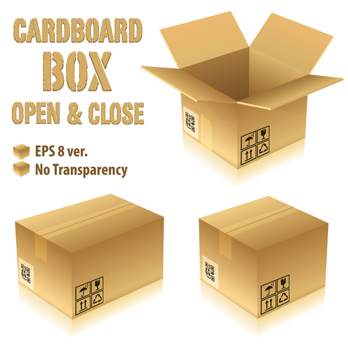 Cardboard Box Packaging Template Vector 04