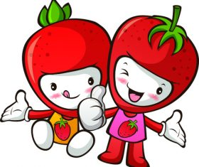 Cartoon Strawberry people vector