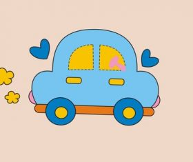 Cartoon animal modeling car design vector