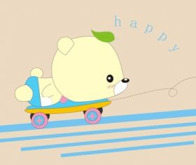 Cartoon animal skateboarding bear design vector