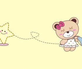 Cartoon bear and stars vector