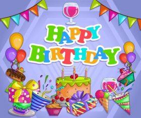 Cartoon birthday card template vector