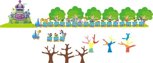 Cartoon castle train branches vector