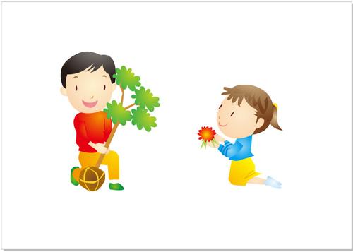 Cartoon character planting tree vector
