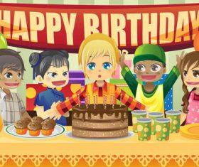 Cartoon children birthday party vector