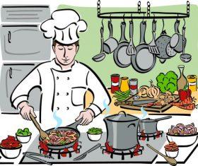 Cartoon cooking chef vector
