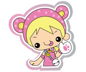 Cartoon cute little girl vector