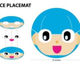 Cartoon face placemat vector