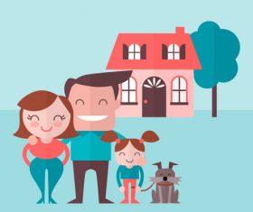 Cartoon family of three vector