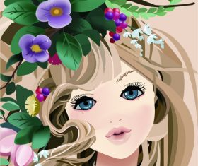 Cartoon girl wearing wreath vector