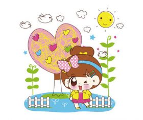 Cartoon little girl with landscape vector