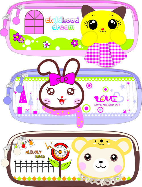 Cartoon pencil case vector