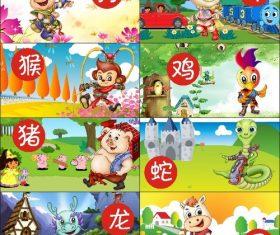 Cartoon poster zodiac vector