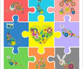 Cartoon puzzle vector