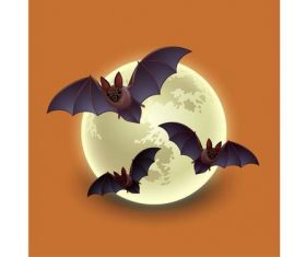 Cartoon round moon bat vector