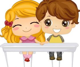 Cartoon same table pupils vector