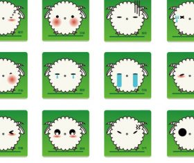 Cartoon sheeps facial expression vector