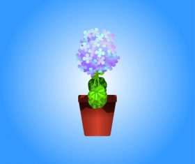 Cartoon vector flower bonsai vector
