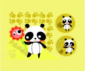 Cartoon yellow panda vector