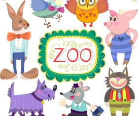Cartoon zoo with cute animals vector 01