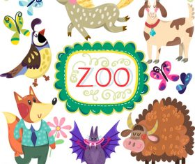 Cartoon zoo with cute animals vector 02