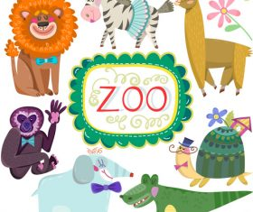 Cartoon zoo with cute animals vector 03