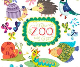 Cartoon zoo with cute animals vector 04