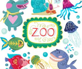 Cartoon zoo with cute animals vector 05