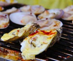 Charcoal grilled oysters Stock Photo 01