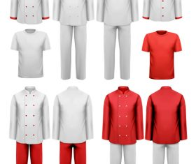 Chef work clothes template vector 01