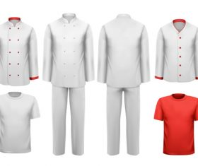 Chef work clothes template vector 03