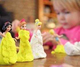 Childrens plasticine handmade work Stock Photo