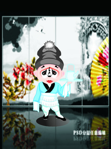 Chinese Beijing Opera Cartoon Characters vector