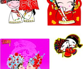 Chinese classical wedding vector