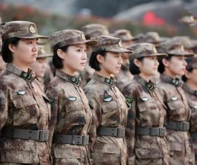Chinese female soldier Stock Photo