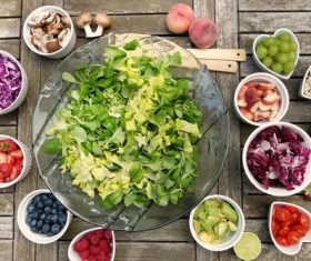 Chopped fruits and vegetables salad ingredients Stock Photo