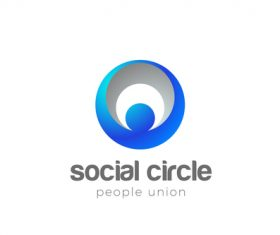 Circle human network logo vector