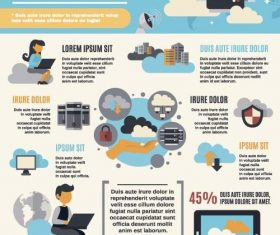Cloud computing infographic template vector