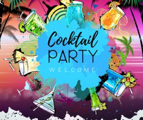 Cocktail party poster template vectors 01