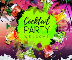 Cocktail party poster template vectors 02