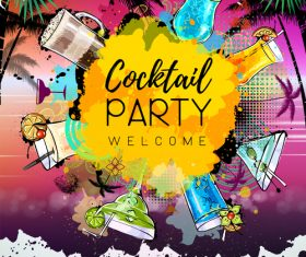 Cocktail party poster template vectors 03