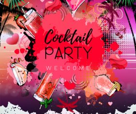 Cocktail party poster template vectors 04
