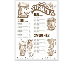 Coffee menu template design vectors 05