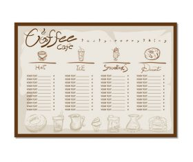 Coffee menu template design vectors 08