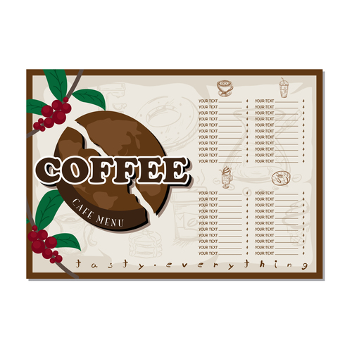 Coffee menu template design vectors 09