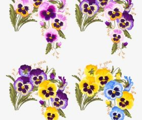 Colorful pansies vector